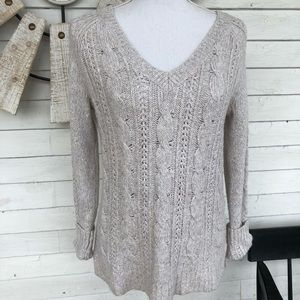 Hollister Misty Grey Cable Knit Sweater